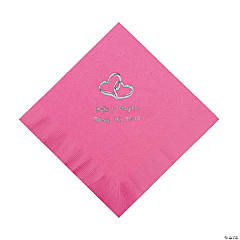 Candy Pink Two Hearts Personalized Napkins with Silver Foil - Luncheon