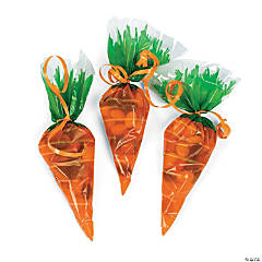 Carrot-Shaped Goody Cellophane Bags