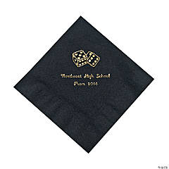 Casino Black Personalized Luncheon Napkins with Gold Print