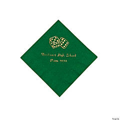 Casino Green Personalized Beverage Napkins with Gold Print