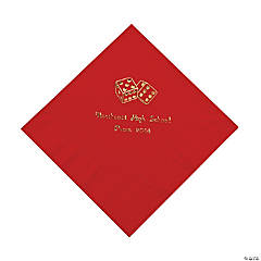 Casino Red Personalized Luncheon Napkins with Gold Print