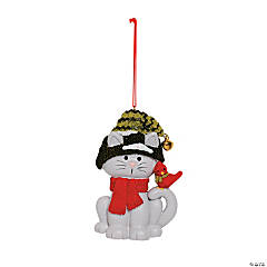 Cat with Cardinal Christmas Ornaments