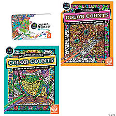 CBN: Color Counts: Animals Set of 2 and 36 Pencils
