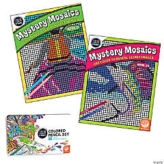 CBN: Mystery Mosaics: Books 9 & 10 with Colored Pencils Set