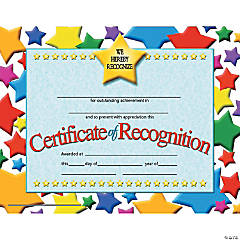 Certificate of Recognition, 30 per Pack, 6 Packs