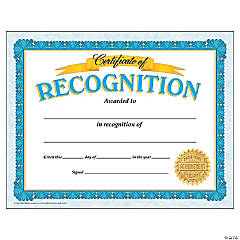 Certificate of Recognition - 30 per pack, 6 packs