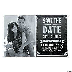 Chalkboard Custom Photo Save the Date Magnets