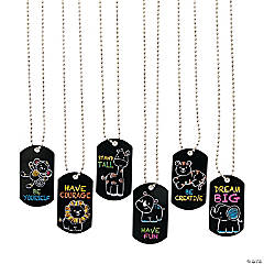 Chalkboard Safari Animal Dog Tag Necklaces