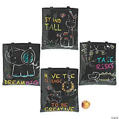 Chalkboard Safari Animal Laminated Tote Bags