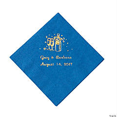 Champagne Blue Personalized Beverage Napkins with Gold Print