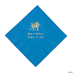 Champagne Blue Personalized Luncheon Napkins with Gold Print
