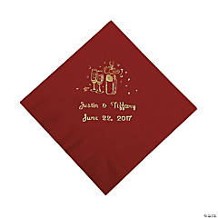 Champagne Personalized Beverage Napkins - Burgundy with Gold Print