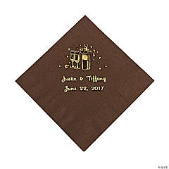 Champagne Personalized Beverage Napkins - Chocolate with Gold Print
