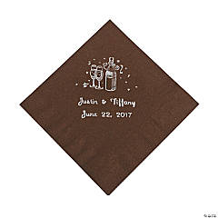 Champagne Personalized Beverage Napkins - Chocolate with Silver Print