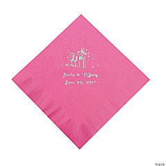 Champagne Personalized Luncheon Napkins - Candy Pink with Silver Print