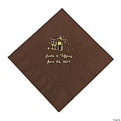 Champagne Personalized Luncheon Napkins - Chocolate with Gold Print