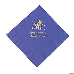 Champagne Purple Personalized Luncheon Napkins with Gold Print