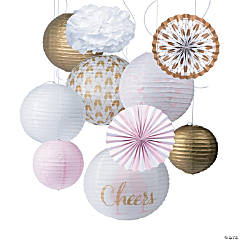 Cheers Pink & Gold Hanging Décor Kit