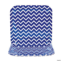 Chevron Blue Paper Dinner Plates