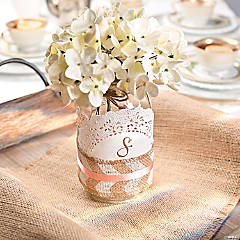 Chevron Burlap Ribbon Centerpiece Idea