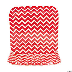 Chevron Red Paper Dinner Plates
