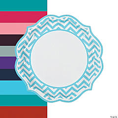Chevron Scalloped Paper Dinner Plates