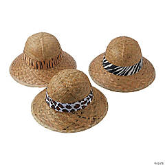 Child's Pith Helmets with Animal Print Band