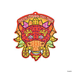 Chinese New Year Glitter Mosaic Dragon Sign Craft Kit