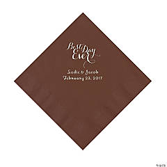 Chocolate Best Day Ever Personalized Napkins with Silver Foil - Luncheon