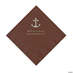 Chocolate Brown Anchor Personalized Napkins with Silver Foil - Luncheon