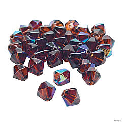 Chocolate Brown Aurora Borealis Cut Crystal Bicone Beads - 8mm