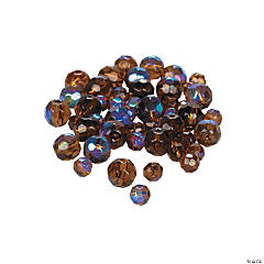 Chocolate Brown Aurora Borealis Cut Crystal Round Beads - 4mm-6mm