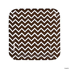 Chocolate Brown Chevron Paper Dinner Plates