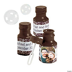 Chocolate Brown Custom Photo Hexagon Bubble Bottles