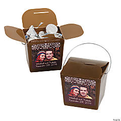 Chocolate Brown Custom Photo Take Out Boxes