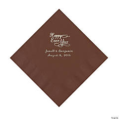 Chocolate Brown Happy Ever After Personalized Napkins - Luncheon