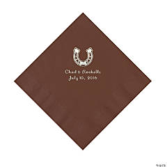 Chocolate Brown Horseshoe Personalized Napkins - Luncheon