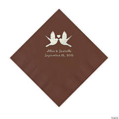 Chocolate Brown Love Birds Personalized Napkins - Luncheon