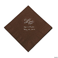 """Chocolate Brown """"Love"""" Personalized Napkins with Silver Foil - Luncheon"""