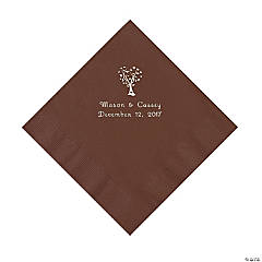 Chocolate Brown Love Tree Personalized Napkins - Luncheon
