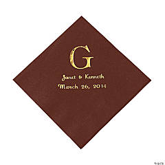 Chocolate Brown Monogram Wedding Personalized Napkins with Gold Foil - Luncheon