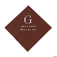 Chocolate Brown Monogram Wedding Personalized Napkins with Silver Foil - Luncheon