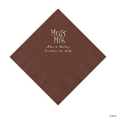 Chocolate Brown Mr. & Mrs. Personalized Napkins with Silver Foil - Luncheon