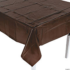 Chocolate Brown Party Plastic Tablecloth