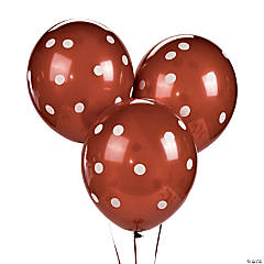 "Chocolate Brown Polka Dot 11"" Latex Balloons"