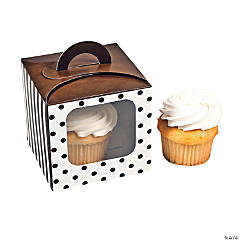 Chocolate Brown Polka Dot Cupcake Boxes with Handle