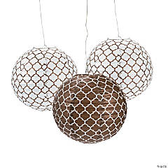 Chocolate Brown Quatrefoil Hanging Paper Lanterns