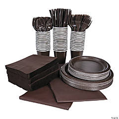 Chocolate Brown Tableware Party Pack for 48