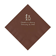 Chocolate Brown Wedding Couple Personalized Napkins with Silver Foil - Luncheon