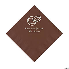 Chocolate Brown Wedding Ring Personalized Napkins - Luncheon